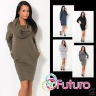 Ladies Comfortable Cocktail Dress Cowl Neck Long Sleeve Tunic Size 8-12 FT1438