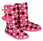 NWT Justice Girls Neon Pink Smile Face Polka Dot Bootie Slippers U Pick Size NEW