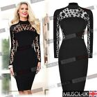 Women's Sexy Mesh Insert Polka Dot Bodycon Cocktail Pencil Party Evening Dresses