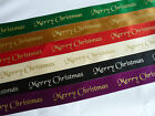 1 metre x 25mm Merry Christmas Double Sided Satin Ribbon -Cards/Cakes/ Favours