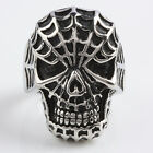 Unisex Charm Skull spide-rman Biker Gothic Punk Band Cool Stainless Steel Ring
