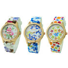 Women Lady Silicone Rubber Band Printed Flower Quartz Big Dial Wristwatch Watch