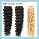 SALE ! Hair Extensions Clip In Remy Human Hair Extensions Full Head Deep Wave