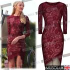 Sexy Women Long Sleeve Floral Lace Evening Party Prom Bodycon Midi Evening Dress
