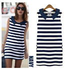 New Fashion Summer Women Sleeveless Blue White Striped Casual Mini Dress S/M/L