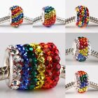 Rainbow Crystal Rhinestone Sterling Silver Big Hole EP Beads Fit Charms Bracelet