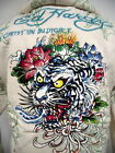 New ED HARDY  CHRISTIAN AUDIGIER MENS  PLATINUM flaming TIGER  HOODIE SHIRT WHT