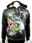 CHRISTIAN AUDIGIER ED HARDY MENS PLATINUM VIF LUCKY FINGERS  CRYSTAL HOODIE