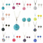 Shamballa Crystal Bead Disco ball Charm Silver Pendant Necklace Stud earring Set