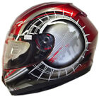 LEOPARD LEO-818 Full Face Scooter Motorcycle Motorbike Crash Helmet Target Red