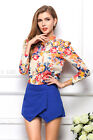 Vintage Womens Summer Casual Chiffon Flower Tops Long Puff Sleeve Shirt Blouse