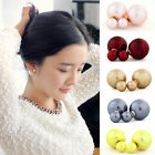Fashion style Double Pearl Beads Plug Earrings Ear Studs Pin Girl Girls Prefer