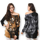 Women's Tiger Face Print Rhinestone Pullover Mini Dress Loose Blouse Top T-shirt