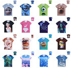 Hot Novelty Men Women 3D Animal Hamburger Print Round Neck Short Sleeve T-shirt