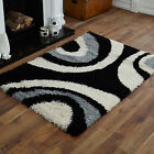 NEW LARGE MEDIUM SMALL 5cm HIGH PILE THICK NON SHED BLACK GREY CREAM SHAGGY RUG