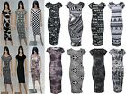 New Womens Winter Christmas Party Monochrome Printed Long Midi Dress UK
