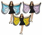 Adult Womens Cloth Fabric Butterfly Blue Purple Orange Wings Costume Accessory