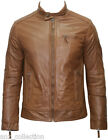 Men's Brown Biker Casual Retro Style Soft Nappa Genuine Italian Leather Jacket