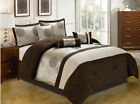 11 Piece Platinum and Chocolate Jacquard Bed in a Bag w/600TC Cotton Sheet Set