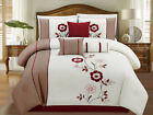11 Piece Ivory/Taupe/Burgundy Floral Embroidered Bed in a Bag Set