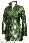 Lasvegas Green Ladies Woman's Designer Smart Glazed Leather Jacket Trench Coat