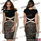 Womens Cocktail Dress Contrast Lace Cocktail Party Bodycon Evening Fancy Dress