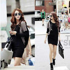 Women  Batwing Long Sleeve Patchwork Long Top Tee Autumn Mini Dress Casual Y501