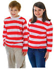 Boys Girls Kids Childrens Wheres Wally Waldo Red White Striped Stripy Shirt