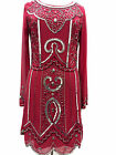 BNWT Berry Long sleeve embellished 1970's shift dress sizes 8 10 12 14 16 18 20