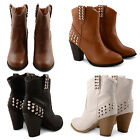NEW LADIES STUDDED ANKLE BOOTS WOMENS SLIP ON BLOCK HIGH HEEL SHOES UK SIZES