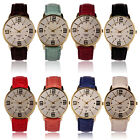 Womens Ladies Fashion Numerals Gold Dial Leather Analog Quartz Watch New Gayly