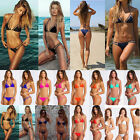 Womens Summer Bandage Halter Triangle Top Transparent Bikini Swimsuit Swimwear