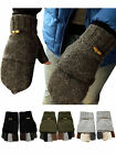 Mens Ladies Winter Knitted Wool Convertible Fingerless Gloves Mittens Pocket