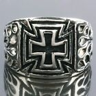 Punk Cut Out Hollow Black Cross Rock Goth Stainless Steel Finger Ring US 9/10/11