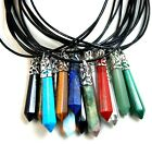 Gemstones Long Hexagonal Pointed Reiki Chakra Pendant With Leather Necklace
