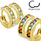 Gold Plated Multi-Paved Clear/Rainbow Gems Huggie Earrings,Choose 1-2 Pairs(001)