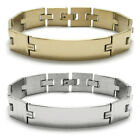 "Stainless Steel Men's 8"" Personalized Square Links Bracelet (Choose Color)"