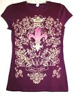 Purple T-shirt with Fleur de lis and Beautiful Scrollwork- Limited Edition
