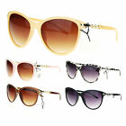 Womens Metal Chain Temple Oversize Butterfly Diva Sunglasses