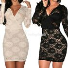 Fashion Sexy Black Lace Long Sleeves Cocktail Party Night Club Bodycon Dress