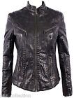 Diana Ladies Black Croc Biker Genuine Real Nappa Leather Fitted Style Jacket