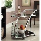 Chrome Metal Bar Tea Serving Cart With Tempered Glass New