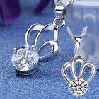 Chic Crown 925 Sterling Silver White/Purple Rhinestone Pendant Necklace Jewelry