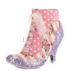 WOMENS IRREGULAR CHOICE DOLLY MIXTURE PINK LACE UP ANKLE BOOTS SIZE