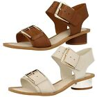 Clarks Ladies Sandals 'Sandcastle Art' Tan or Cotton Leather