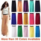 M Women Double Layer Chiffon Pleated Retro Long Maxi Dress Elastic Waist Skirt