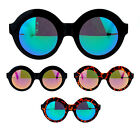 Womens Retro Nerdy Thick Plastic Round Circle Color Mirror Lens Sunglasses