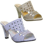 Premium Melissa Heels Diamante Mid Heel  Womens Faux Leather Size UK 3 - 8