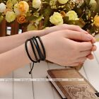1pc Multi-Layer Wrap Leather Rope Bracelet Punk Adjustable Unisex Jewelry 2Color