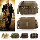 Hot Sale Vintage Canvas Leather Satchel School Military Shoulder Bag UK